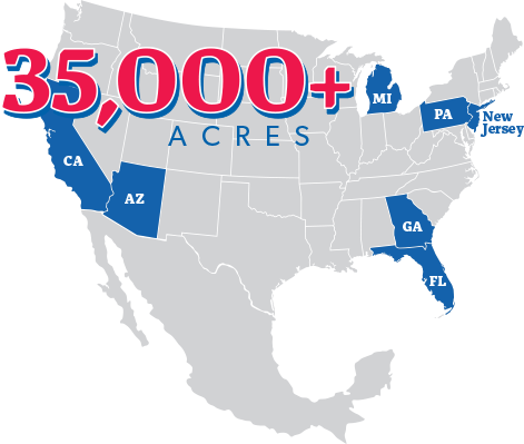 35,000+ Acres text on top of a map of the USA